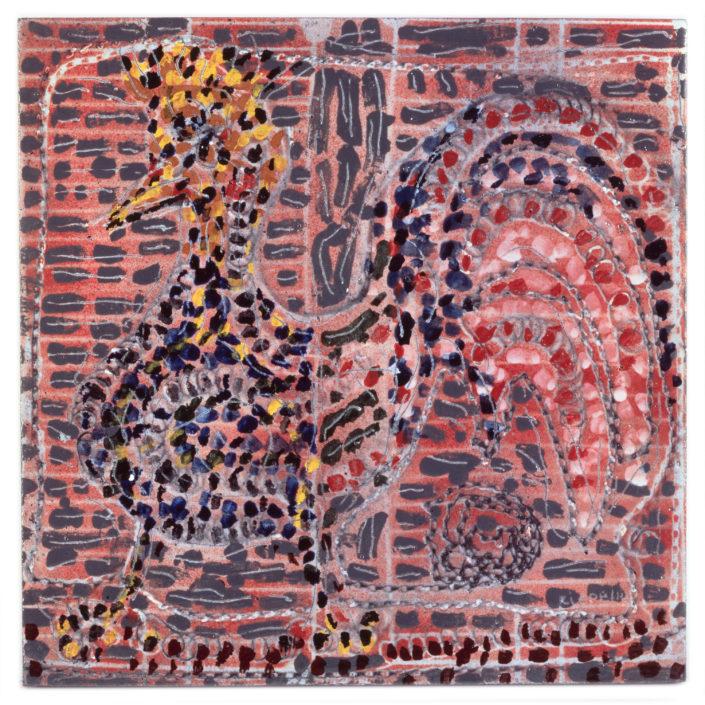 Jean-Paul Riopelle (1923-2002), Sans titre, 1984, Lave émaillée, 50 cm x 50 cm